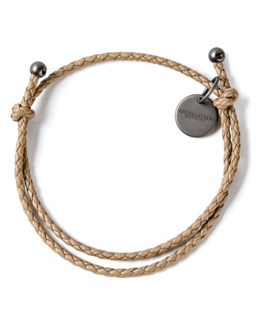 Bottega Veneta | Natural Intrecciato Leather Beaded Thin Wrap Bracelet | Lyst