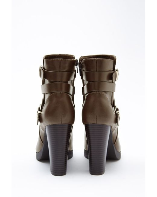 Forever 21 | Green Buckled Faux Leather Booties | Lyst