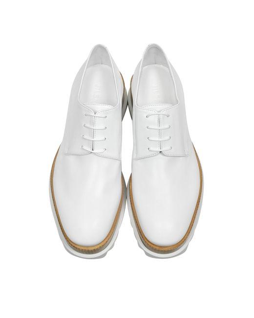 jil sander white leather platform lace up shoe in white