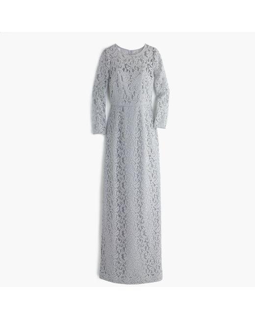 J.Crew | Gray Selina Long Dress In Leavers Lace | Lyst