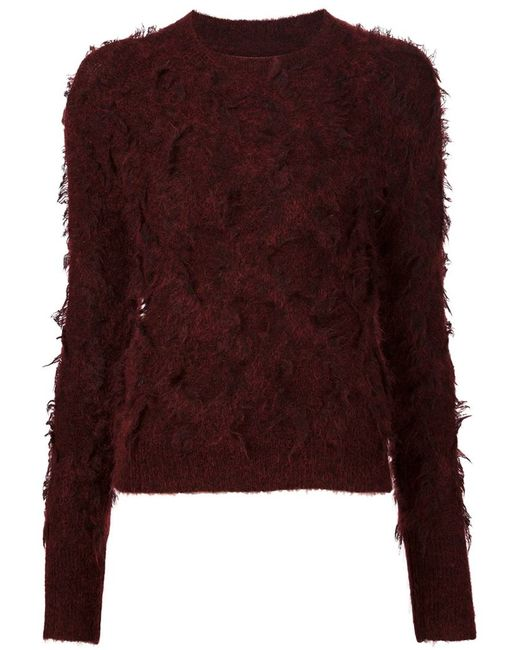 3.1 Phillip Lim | Red Long Sleeve Pullover In Destroyed Diamond Fringe Jacquard | Lyst