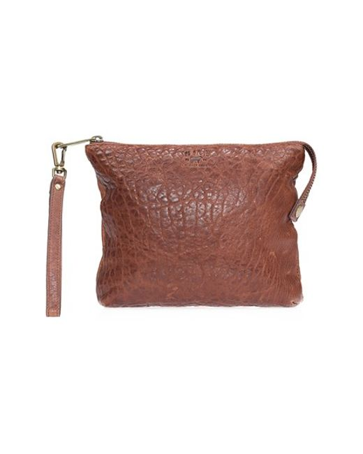 Will Leather Goods | Brown 'opal' Large Grain Leather Wristlet | Lyst