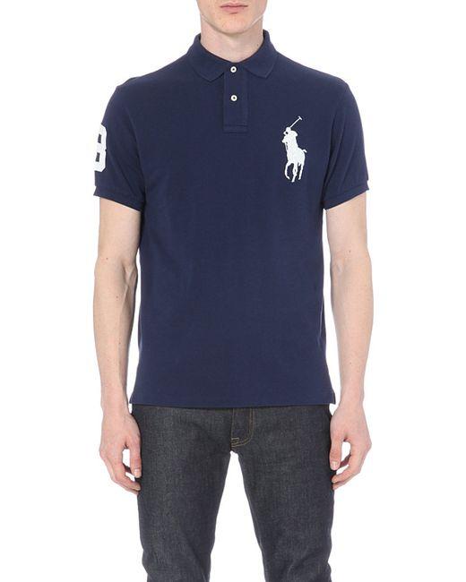Polo Ralph Lauren | Blue Custom-fit Cotton-piqué Polo Shirt for Men | Lyst
