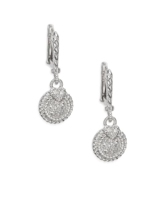 Judith Ripka | Metallic Lenox White Sapphire & Sterling Silver Pavà Round Drop Earrings | Lyst