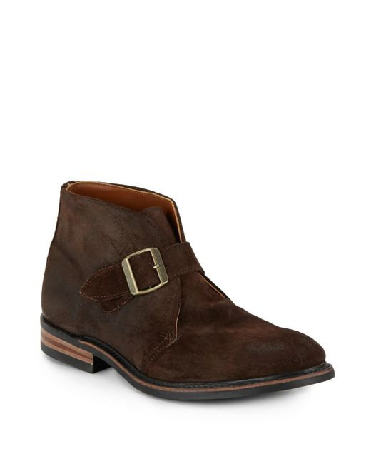 walk grove suede buckle ankle boots in brown for