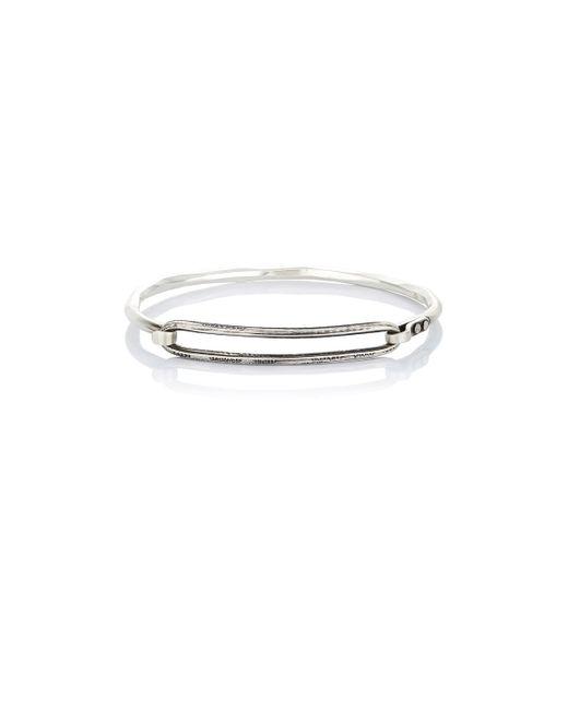 Werkstatt:münchen | Metallic Hammered Bracelet With Engraved Link | Lyst