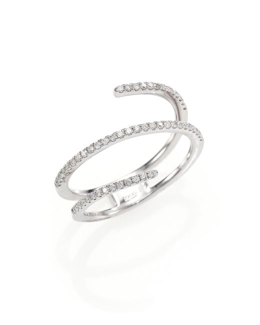 Meira T | Diamond & 14k White Gold Spiral Ring | Lyst