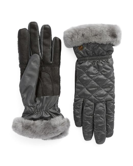 UGG | Gray Shearling Cuff Tech Gloves | Lyst