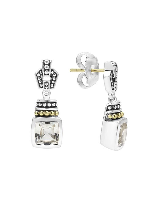 Lagos | 18k Gold And Sterling Silver Caviar Color Drop Earrings With White Topaz | Lyst
