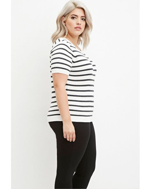 Forever 21 | Natural Plus Size Striped Sweater | Lyst