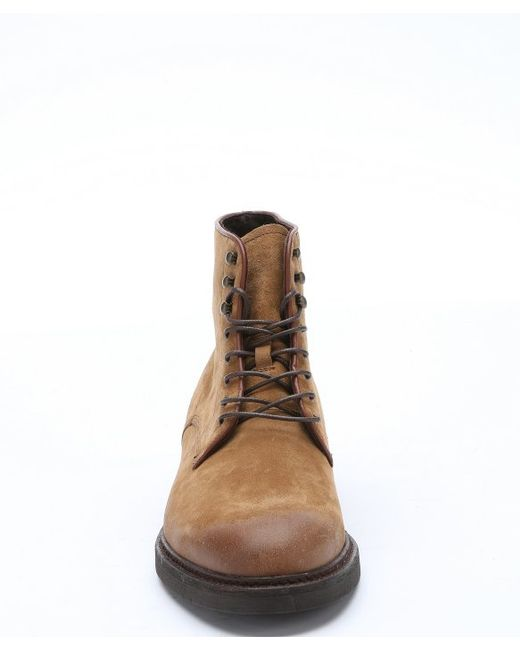 a testoni light brown suede lace up ankle boots in brown