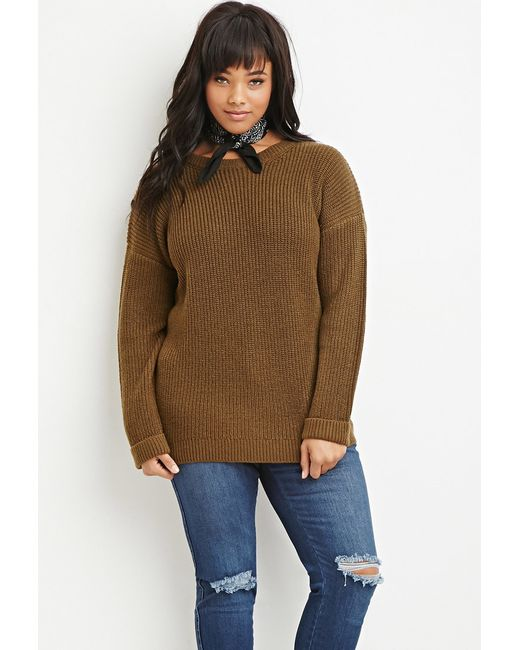 Cuffed Sweater: Forever 21 Plus Size Waffle Knit Cuffed Sweater In Green