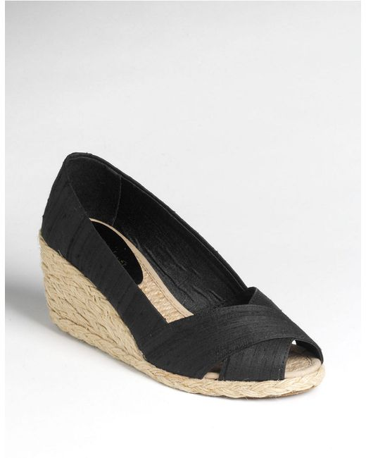 lauren by ralph lauren cecilia peep toe espadrilles in black black silk lyst. Black Bedroom Furniture Sets. Home Design Ideas