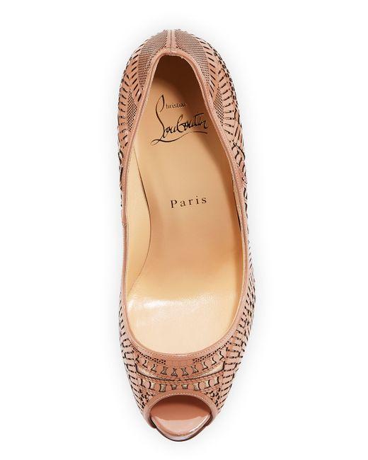 replicas shoes - Christian louboutin Suellena Laser-Cut Leather Pumps in Beige ...