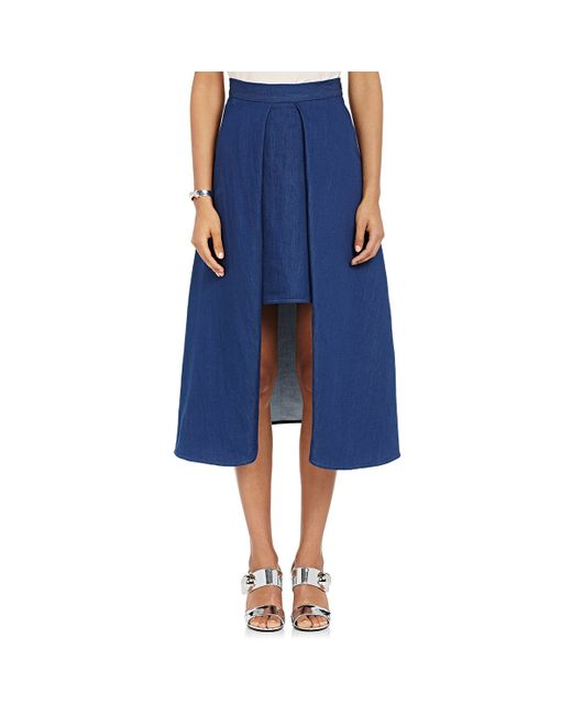 ji oh a line high low skirt in blue save 61 lyst