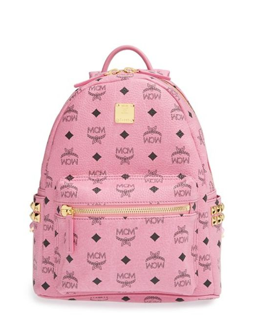MCM | Pink 'small Stark' Side Stud Backpack | Lyst