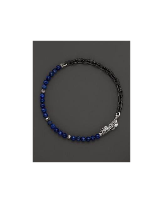 John Hardy | Blue Men's Naga Silver Double Wrap Stainless Steel Link Bracelet With Lapis Lazuli for Men | Lyst
