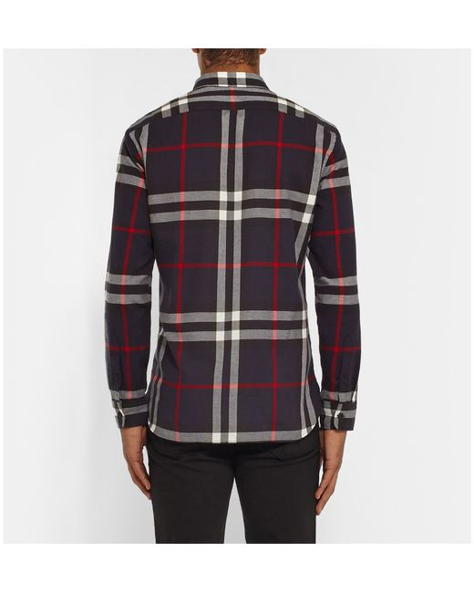 Burberry brit slim fit checked cotton flannel shirt in red for Mens slim fit flannel shirt