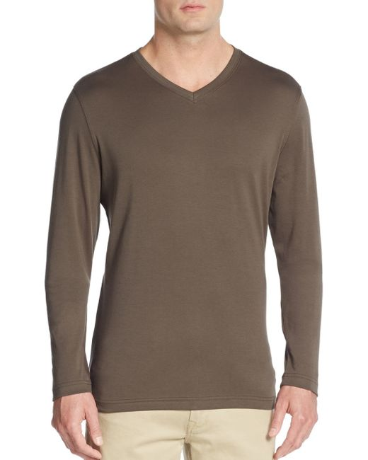 Robert Barakett | Brown Georgia V-neck Long Sleeve Cotton Tee for Men | Lyst