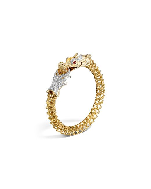 John Hardy | Metallic Diamond, Ruby & 18k Yellow Gold Medium Naga Dragon Bracelet, .86 Ct. T.w. | Lyst