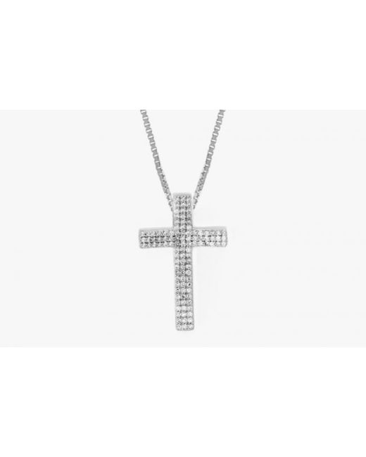 Tateossian | Metallic Precious Cross Micro Pavé Necklace In 18k White Gold With 105 0.32ct White Diamonds for Men | Lyst