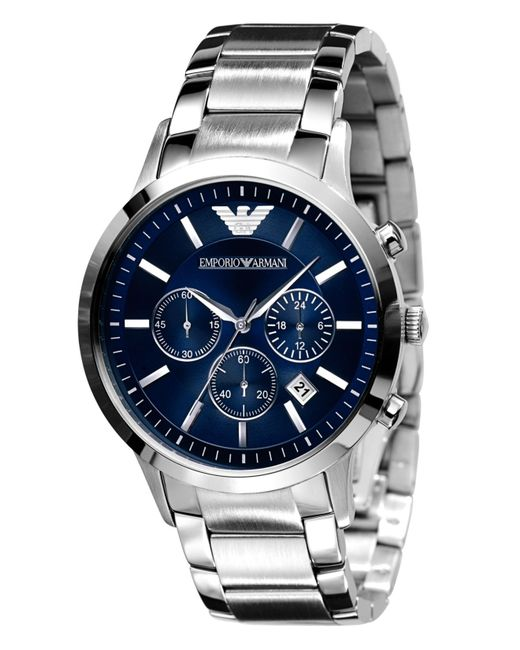 Emporio Armani   Gray Slim Stainless Steel Chronograph Watch for Men   Lyst