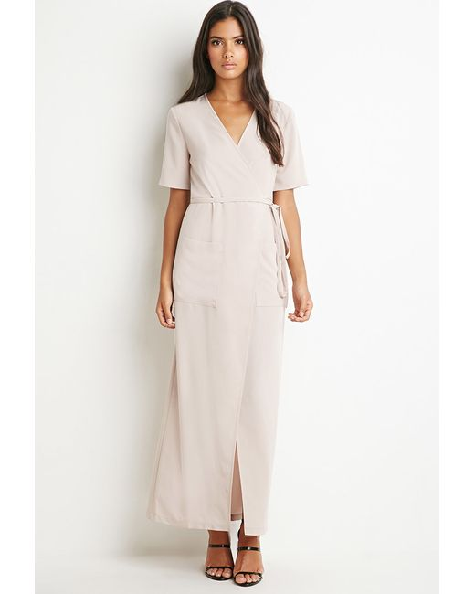 Forever 21 | Natural Wrap-front Maxi Dress | Lyst