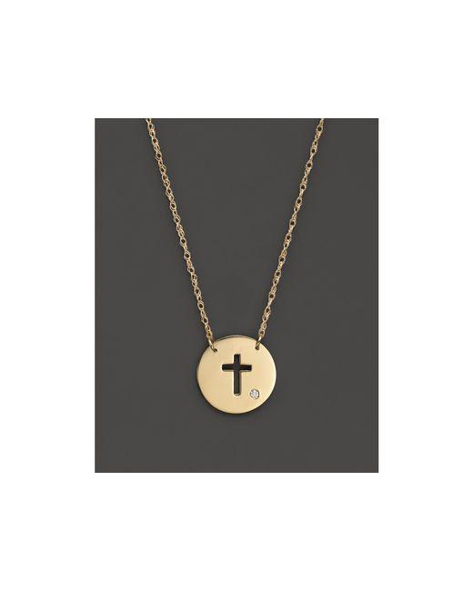 "Jane Basch | Metallic 14k Yellow Gold Cut Out Cross Disc Pendant Necklace, 16"" | Lyst"