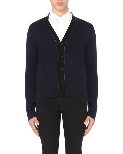 Sandro | Blue Contrast-trim Knitted Cardigan for Men | Lyst