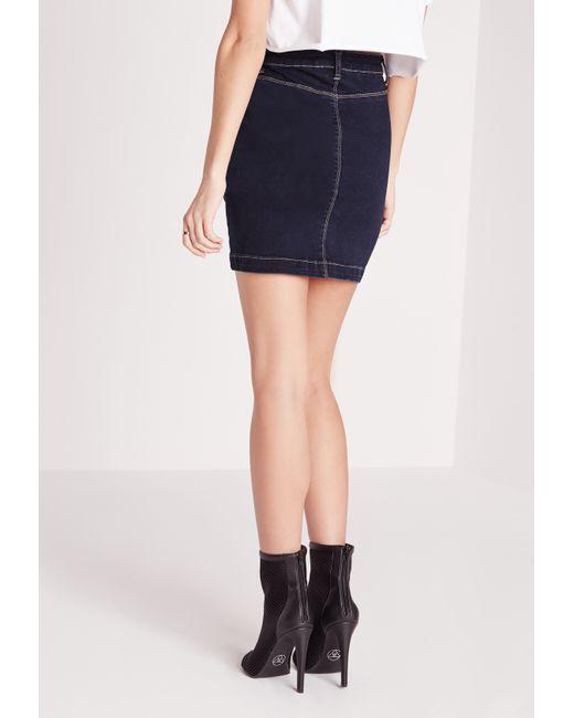 missguided denim mini skirt indigo in blue denim lyst