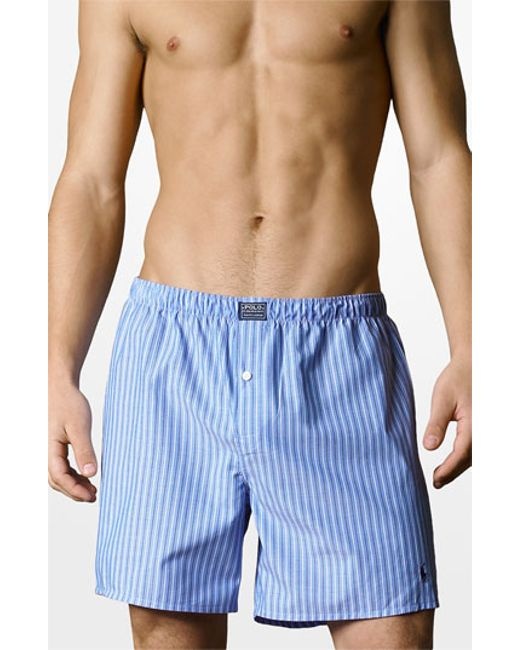polo ralph lauren woven boxer shorts in blue for men. Black Bedroom Furniture Sets. Home Design Ideas