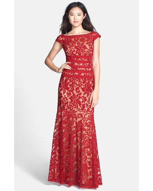 Tadashi Shoji | Textured Lace Mermaid Gown | Lyst