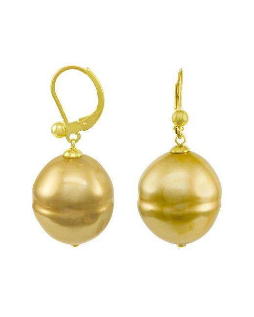 Majorica | Metallic 18k Gold Over Sterling Silver Earrings, Imitation Baroque Pearl | Lyst
