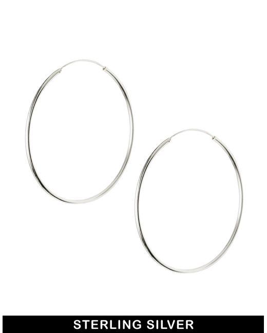 ASOS | Metallic Sterling Silver 60mm Hoop Earrings - Silver | Lyst