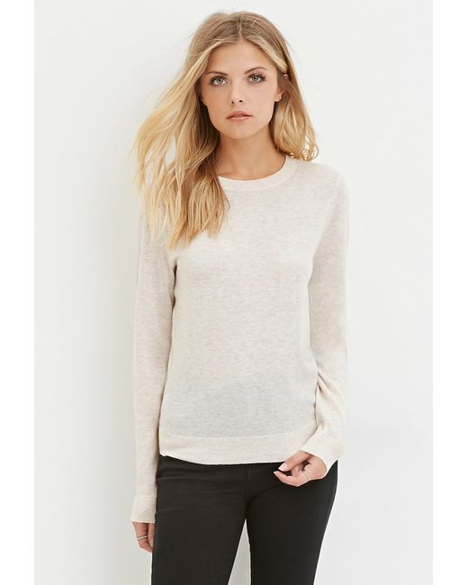Forever 21 | Natural Contemporary Classic Heathered Sweater | Lyst