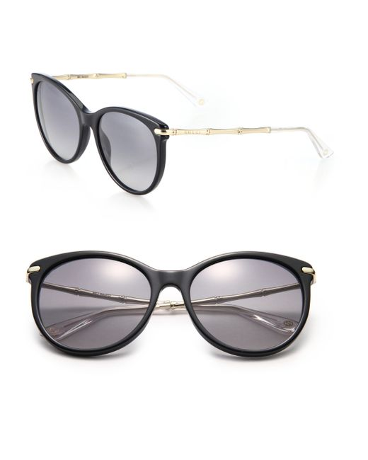 Gucci | Black Bamboo 56mm Oval Frame | Lyst