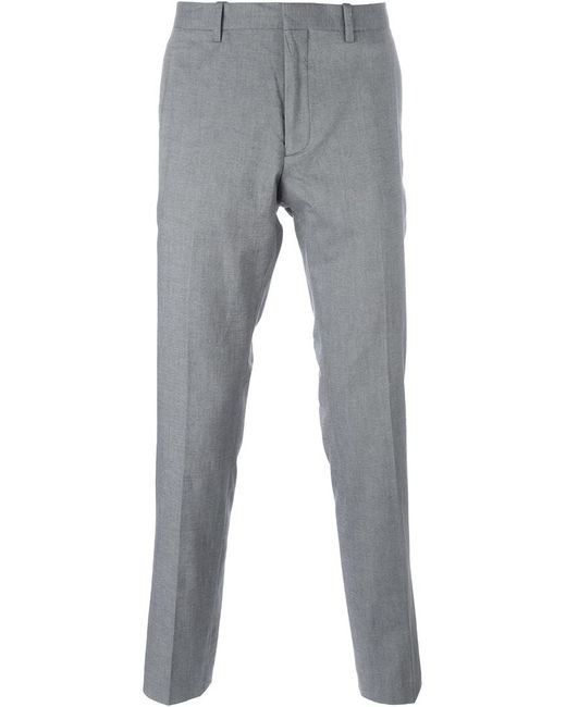 michael michael kors chambray slim trousers in gray for men grey save 30 lyst. Black Bedroom Furniture Sets. Home Design Ideas