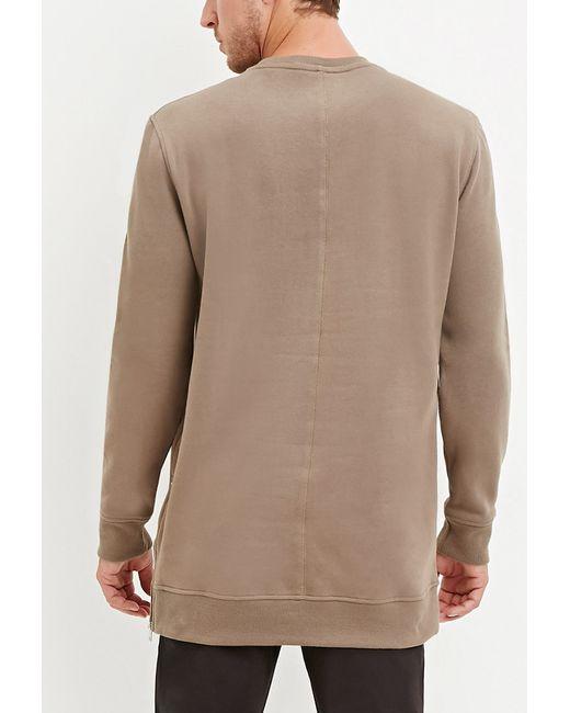 Forever 21 | Natural Longline Fleece Sweatshirt for Men | Lyst