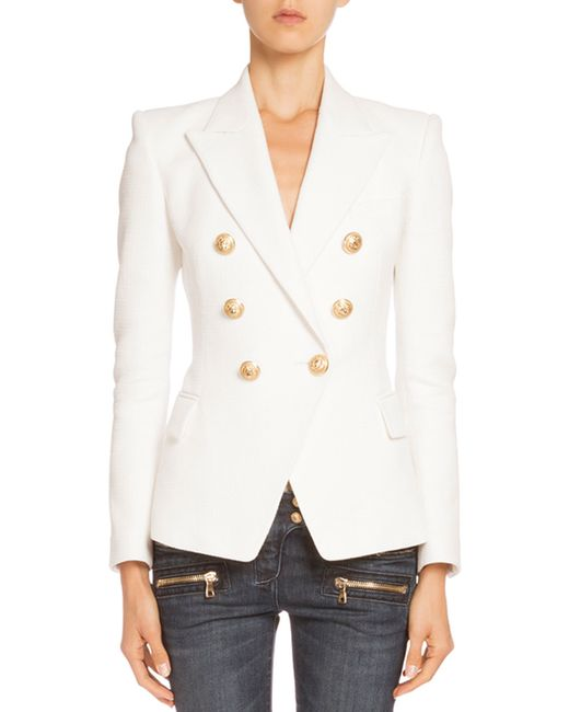 Balmain | White Double-breasted Tweed Jacket | Lyst