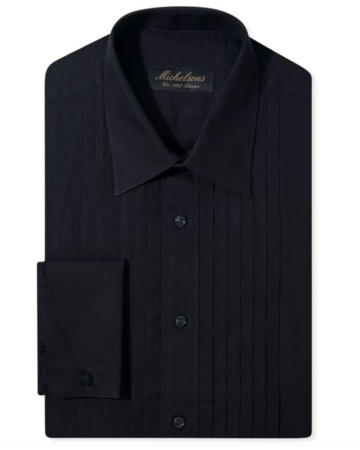 Michelsons of london slim fit pleated point french cuff for French cuff slim fit dress shirt