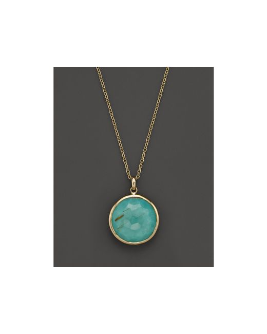 Ippolita | Yellow 18k Gold Rock Candy Lollipop Pendant Necklace In Rutilated Quartz And Turquoise Doublet, 16"