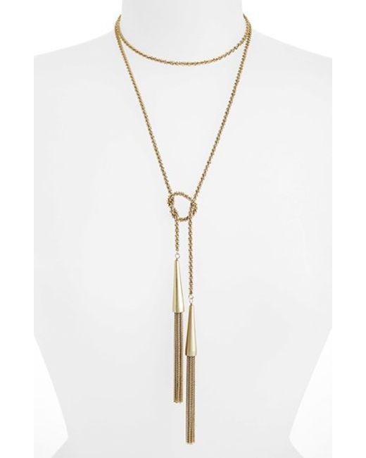 Kendra Scott   Metallic 'phara' Tassel Lariat Necklace   Lyst