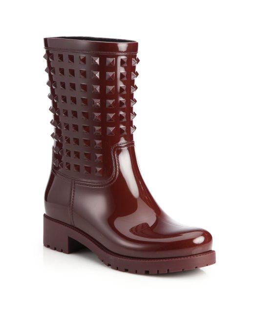 Valentino | Purple Rockstud Patent Rainboots | Lyst