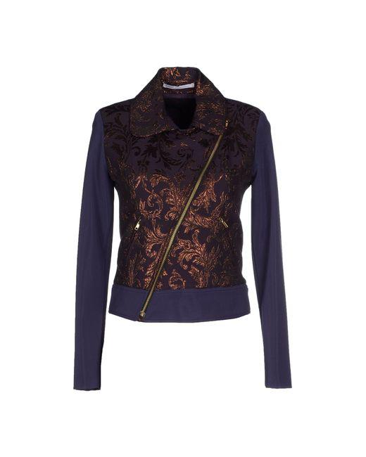 GAUDI   Purple Crepe and Jacquard-Blend Jacket   Lyst