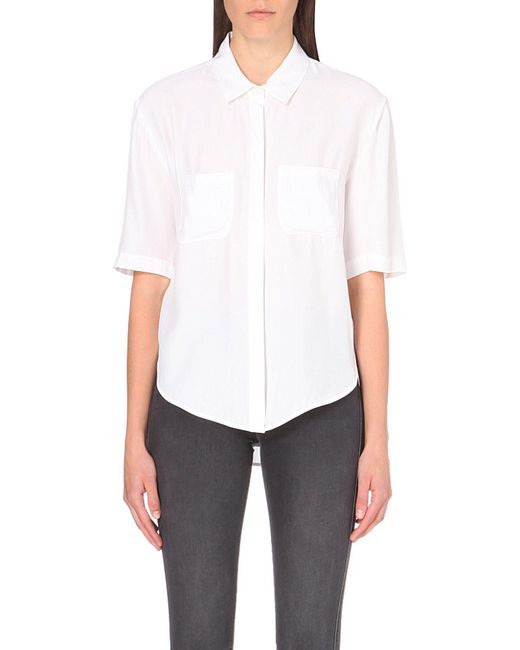FRAME | White Le Elbow Silk-cupro Shirt - For Women | Lyst