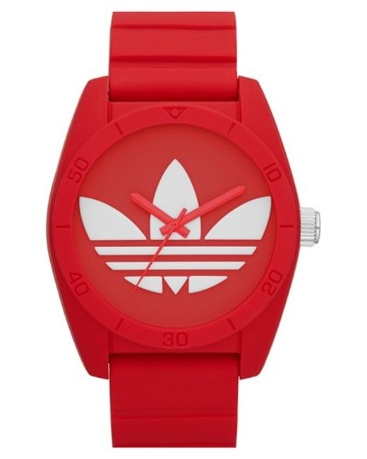 Adidas Originals | Red 'santiago' Silicone Strap Watch | Lyst