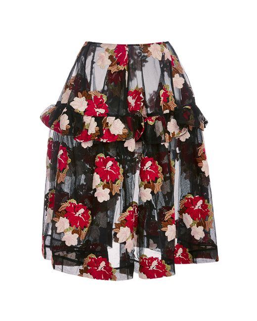 Simone Rocha | Flower Embroidered Tulle Skirt | Lyst