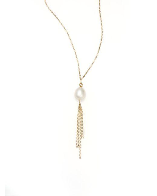 Effy | Metallic 7.5mm Pearl Tassel & 14k Yellow Gold Pendant Necklace | Lyst