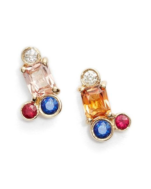 Mociun | Blue Peach Sapphire Cluster Earrings (nordstrom Exclusive) | Lyst