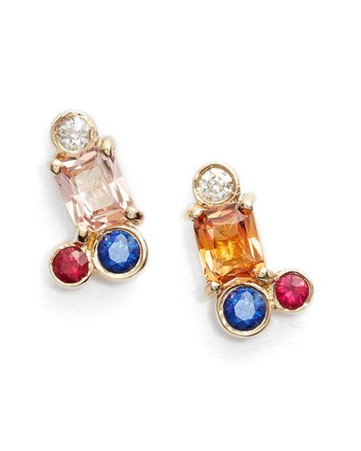 Mociun | Blue Peach Sapphire Cluster Earrings | Lyst